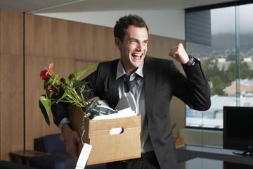 Happy jobless man
