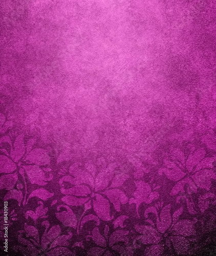 Deurstickers Wand purple floral wallpaper