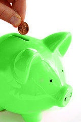 Putting money into the green piggy bank