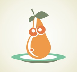 Cartoon pear on plate