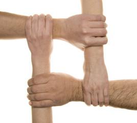 Interlocked hands