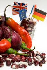 red onion, chilli pepper and haricot beans, flags, close-up