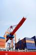 Container ship under gantry