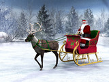 Fototapety Reindeer pulling a sleigh with Santa Claus.