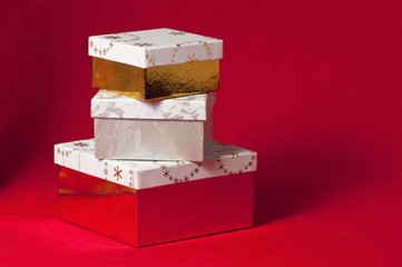 stack of gifts in boxes