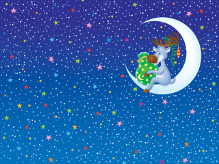 Background with Reindeer holding a bag with Christmas presents