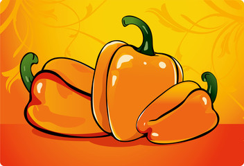 Capsicum in orange background