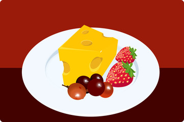 Fruits with cheese
