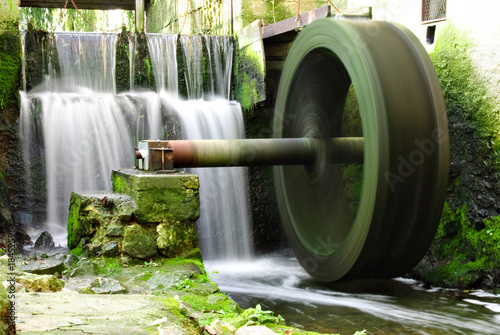 Waterwheel and waterfall