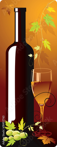 Bottle and goblet in floral background