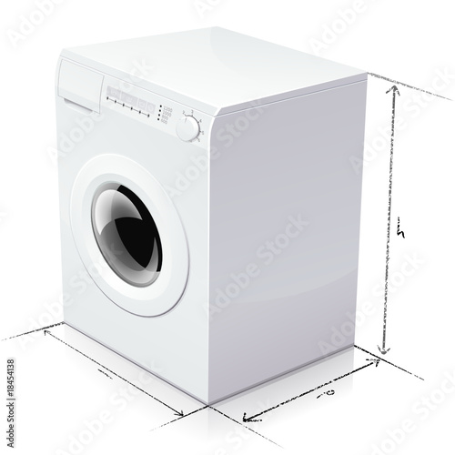 Dimension d 39 un lave linge reflet fichier vectoriel - Dimension de machine a laver ...
