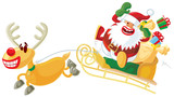 Santa and Rudolph in a hurry poster