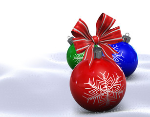 Three Christmas balls end bow
