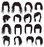 Vector Big set of black hair styling for woman poster