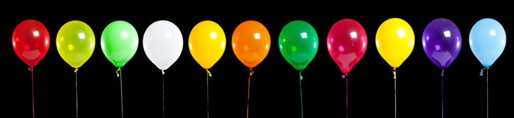 Colorful Party Balloons on Black