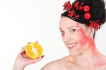 Orangenpräsentation weißer Hintergrund