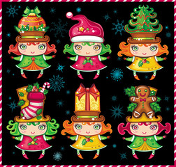 Cute christmas girls - little Santa helpers. Set 2