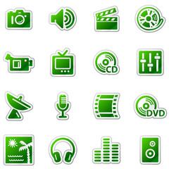 Media web icons, green sticker series