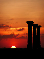 Pillars at sunset