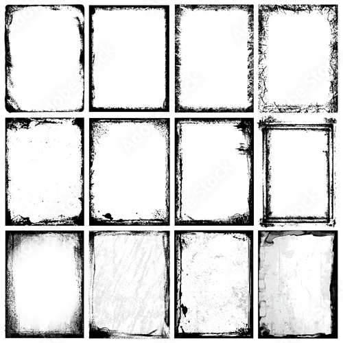 Grunge Frames, Corners, Background and Textures