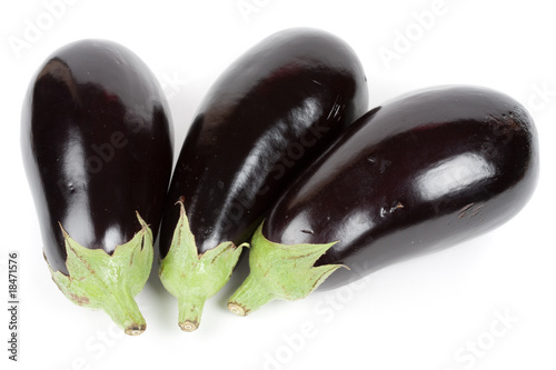 Fresh bio eggplants isolated