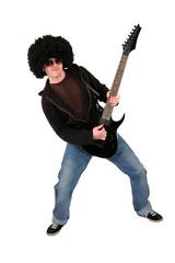 Gitarrist mit schwarzer Gitarre in Action
