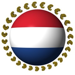 Dutch flag sphere surrounded by circle of euros symbols