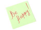 be happy handwritten text on green sticker poster