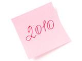2010 year handwritten on pink sticker poster
