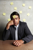 Businessman with sticky notes