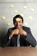 Man with sticky notes portrait