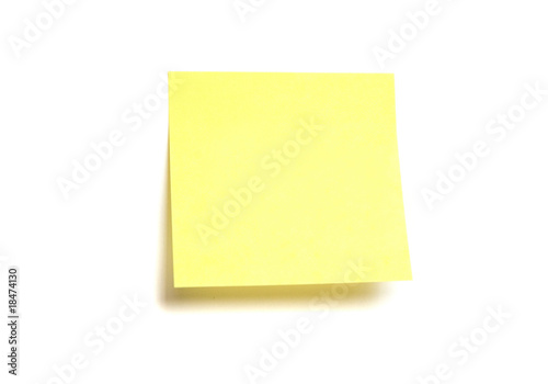 Yellow post-it isolated on white - 18474130