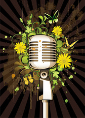Floral abstract with microphone