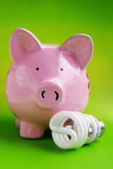 piggy bank with efficient bulb, on green
