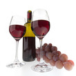 Two glasses, bottle & grapes. Isolated on white background.