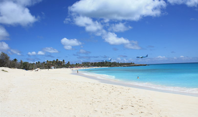 Airplane arriving at Sint Maarten