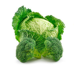 Ripe Broccoli and Savoy Cabbage Isolated on White