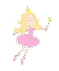 Vector fun illustration of fairy princess