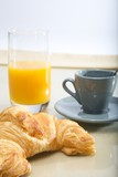 french breakfast coffee and croissant orange juice