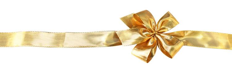ruban doré emballage cadeau fond blanc