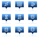 Database web icons, blue speech bubbles series poster