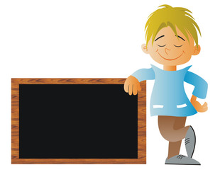 Child with a blackboard at school