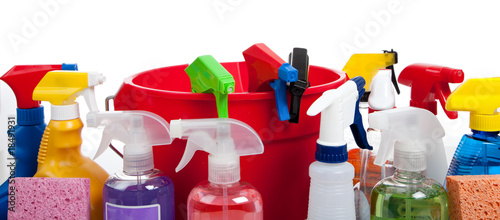 Cleaning supplies in a red bucket on white - 18491931