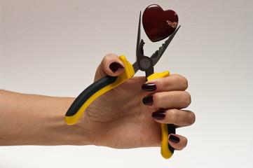 Heart in woman hand