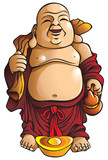 Laughing Buddha with huge belly, sack and gold ingot, vector poster