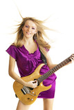 Hot girl playing an electric guitar poster