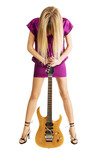Hot girl holding an electric guitar poster
