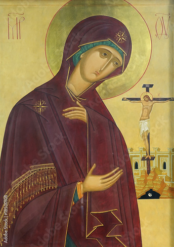 Icon of Mother of God Mary and Jesus Christ on the cross - 18500108