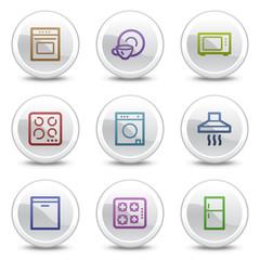 Home appliances web colour icons, white circle buttons series