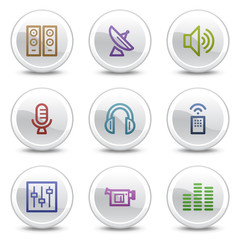 Media web colour icons, white circle buttons series